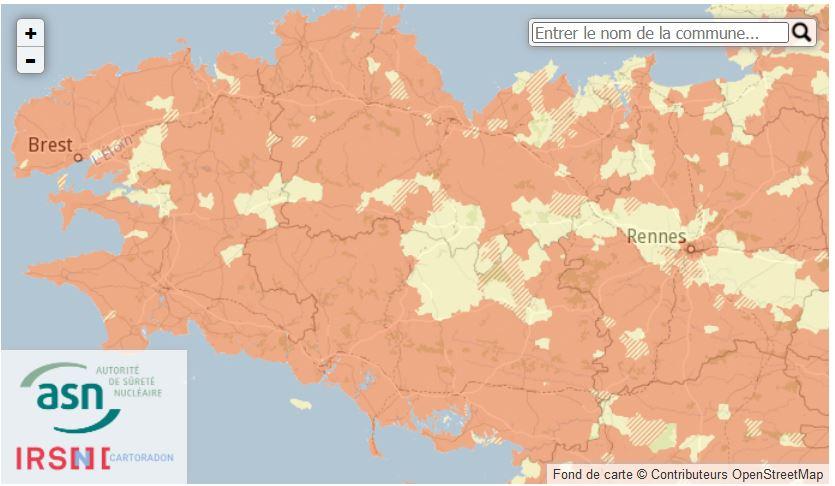 Carte du radon en Bretagne