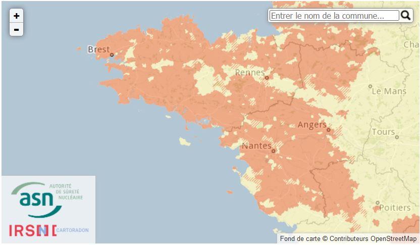 Carte de radon en Pays de Loire